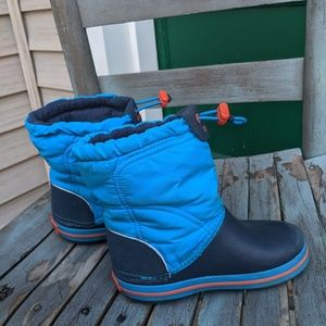 Toddler Crocs Blue Pull On Winter Boots Size 10